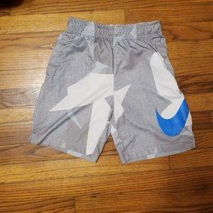 NIKE Drawstring Dri-fit Shorts White Gray Blue YM